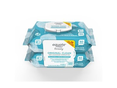 Equate Beauty Original Clean Wet Cleansing Towelettes, 120 count