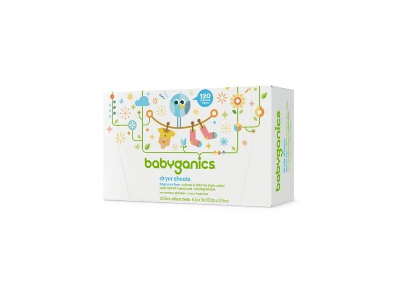 BabyGanics Dryer Sheets, Fragrance Free, 120 ct