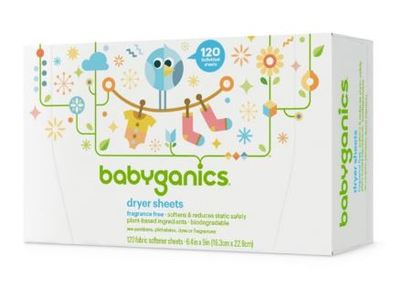 BabyGanics Dryer Sheets, Fragrance Free, 120 ct - Image 1