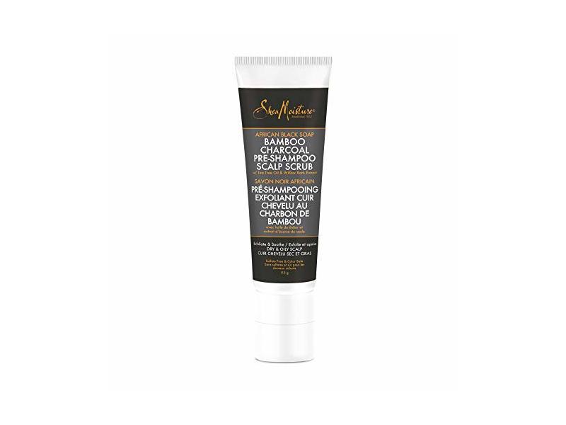 Shea Moisture African Black Soap Bamboo Charcoal Pre-Shampoo Scalp Scrub, 4 oz/113 g