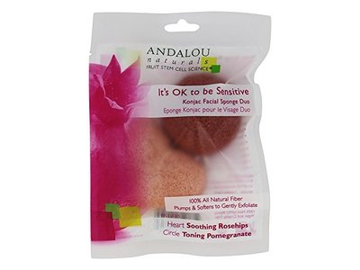 Andalou Naturals Its OK to be Sensitive Konjac Facial Sponge Duo, 2 Pack