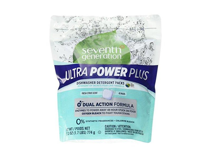 Seventh Generation Ultra Power Plus Dishwasher Detergent Packs, Fresh Citrus Scent, 43 packs