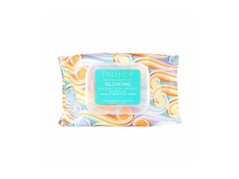 PACIFICA Glowing Makeup Removing Wipes, 30 Count