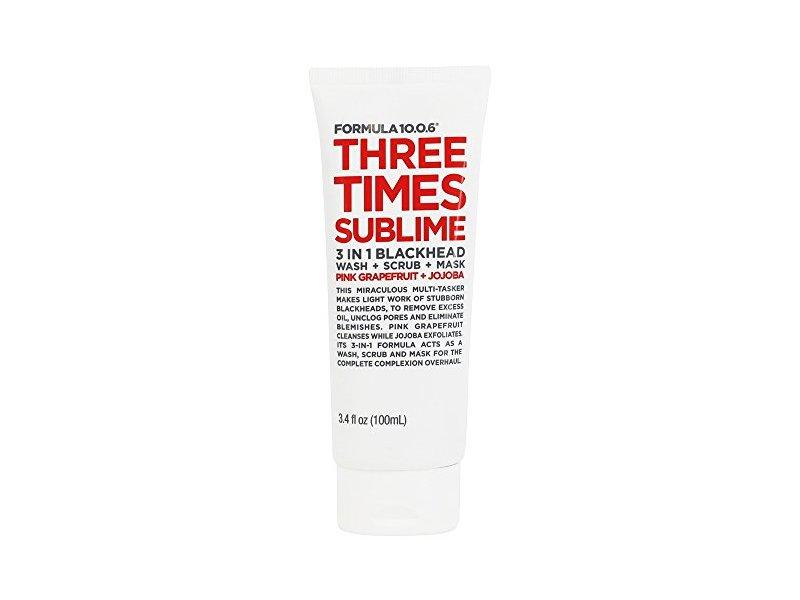 Formula 10.0.6 Three Times Sublime 3-In-1 Blackhead Wash + Scrub + Mask, 3.4 oz