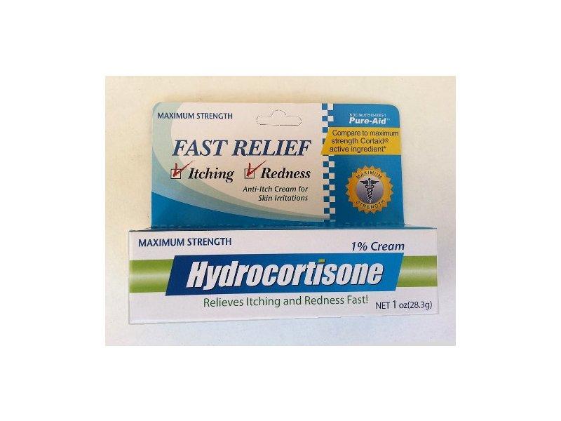 Pure-Aid Hydrocortisone Fast Relief Itching Redness Anti Itch Cream Skin Irritations, 1 oz