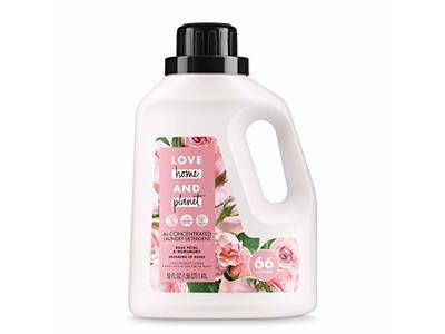 Love Home and Planet Laundry Detergent, Rose Petal & Mururmuru, 50 oz