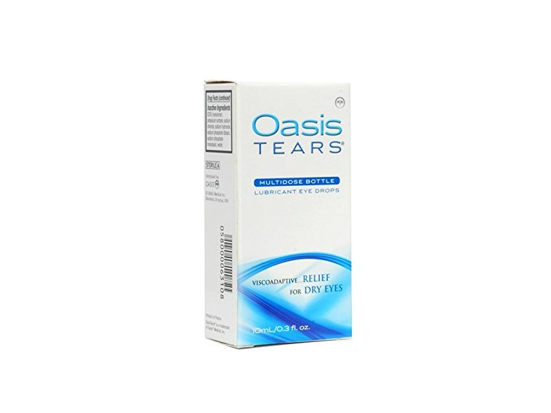Oasis Tears Lubricant Multidose Eye Drops Relief For Dry Eyes, 0.3 fl oz (Pack of 2)