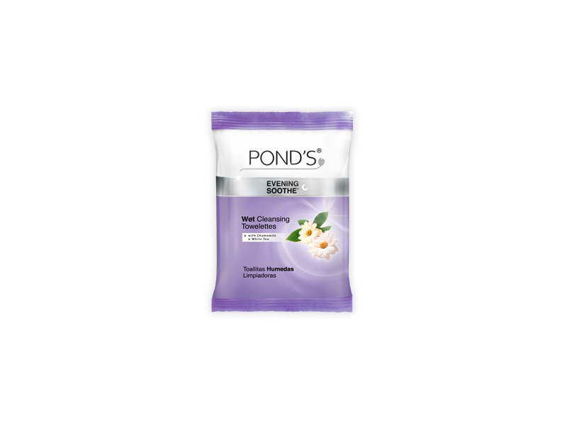 Pond's Wet Cleansing Towelettes, Evening Soothe With Chamomile & White Tea, Unilever
