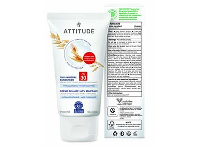 Attitude Mineral Sunscreen, SPF 30, Fragrance Free, 5.2 oz - Image 3