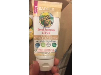 Badger Zinc Oxide Sunscreen Cream, Unscented SPF 30, 2.9 fl oz - Image 4