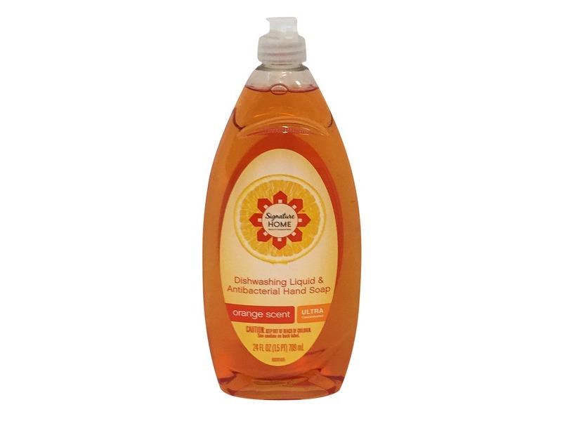 Signature Home Dishwashing Liquid & Antibacterial Hand Soap, Orange Scent, 24 fl oz/709 mL
