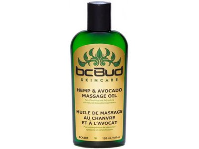 BC Bud Skincare Hemp & Avocado Massage Oil,120 ml /4 fl oz