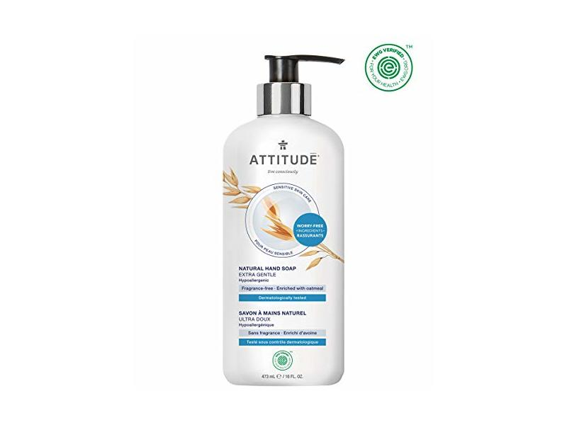 ATTITUDE Sensitive Skin, Hypoallergenic Hand Soap, Fragrance Free, 16 Fluid Ounce