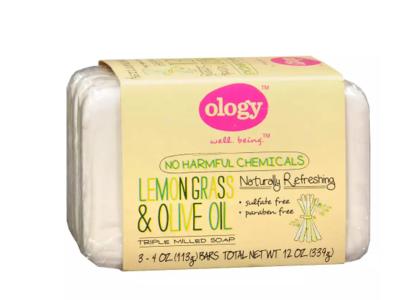 Ology Triple Milled Soap Bars, Lemongrass & Olive Oil, 4.0 oz.
