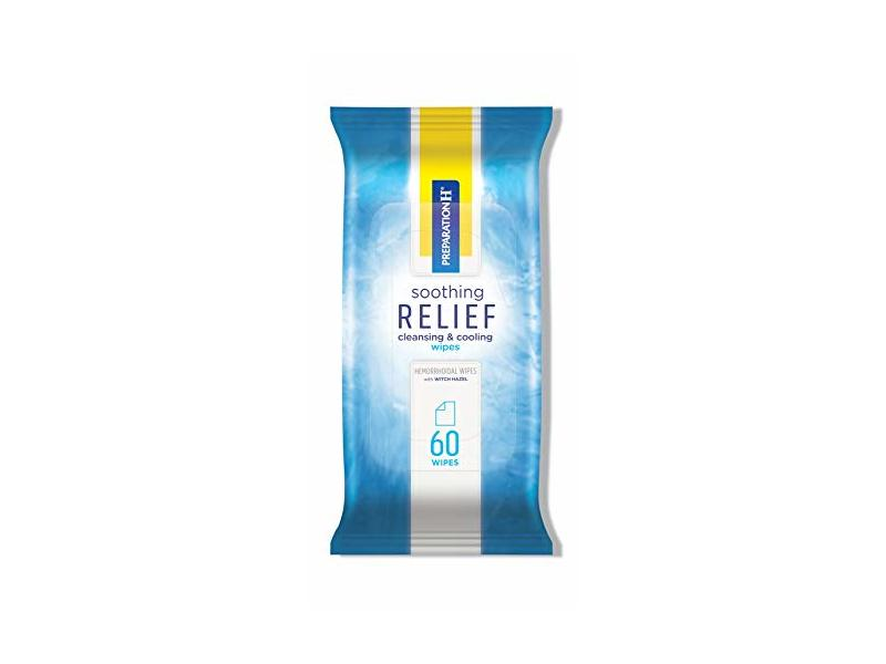Preparation H Soothing Relief Cleaning and Cooling Wipes, 60 count