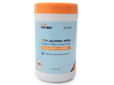 Miami Carry On Disinfecting & Sanitizing Wipes, 75% Alcohol, 100 Ct
