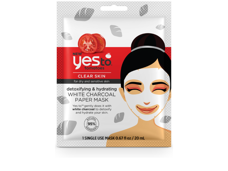 Yes To Tomatoes Detoxifying & Hydrating White Charcoal Paper Mask - Single Use