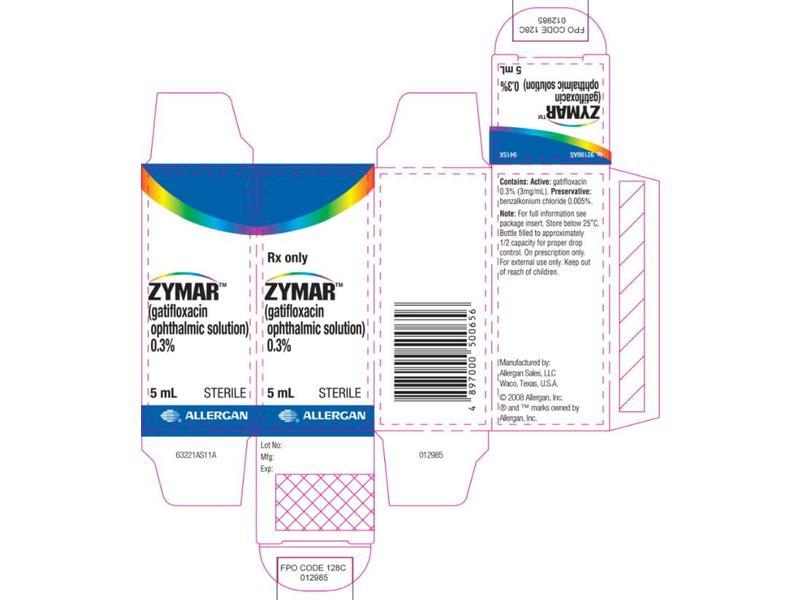 Zymar (Gatifloxacin Ophthalmic Solution) 0.3% (RX) 5 ml, Allergan