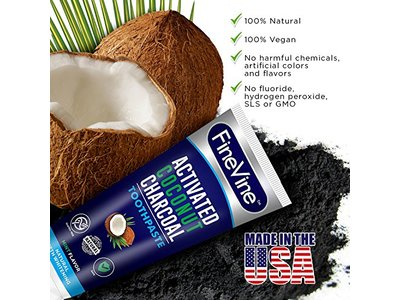 Fine Vine Activated Coconut Charcoal Toothpaste, Mint, 4 oz - Image 9
