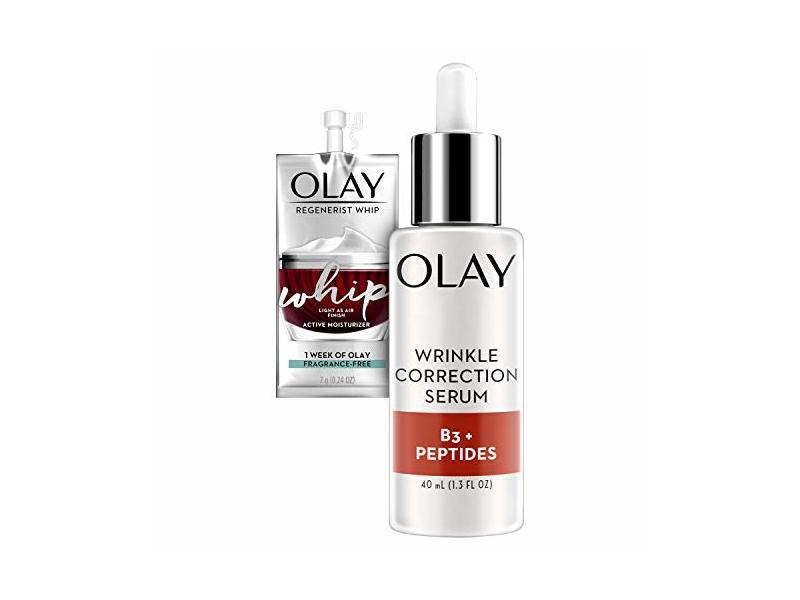 Olay Collagen Peptides Wrinkle Correction Serum, 1.3 Fl Oz + Whip Face Moisturizer Travel/Trial Size Bundle