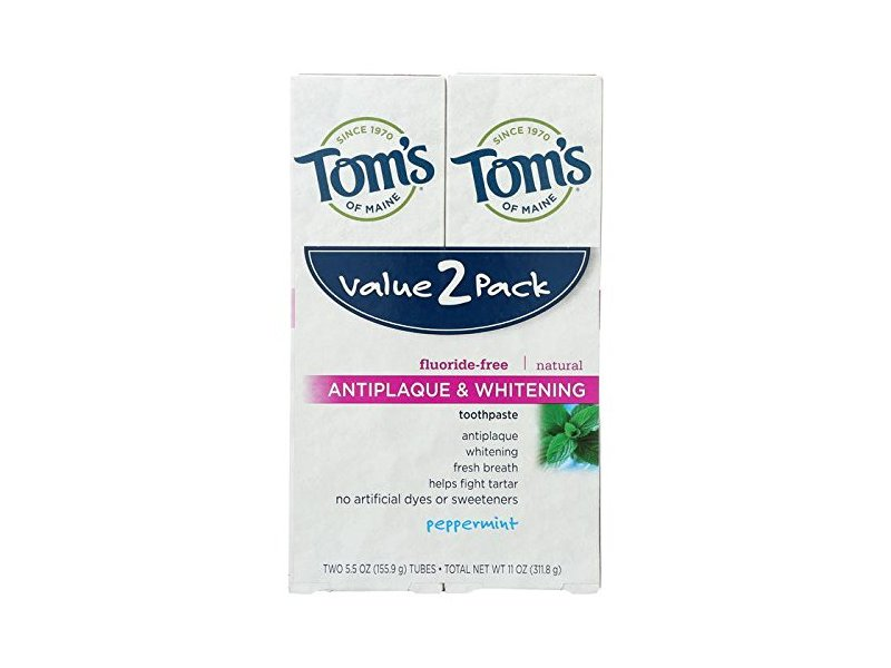 Tom's of Maine Antiplaque & Whitening Toothpaste, Peppermint, 5.5 oz (Pack of 2)