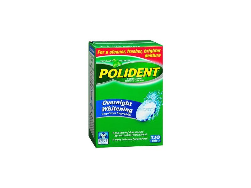 Polident Overnight Whitening Tablets, 120 ct