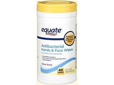 Equate Antibacterial Hands and Face Wipes Citrus, 40 ct