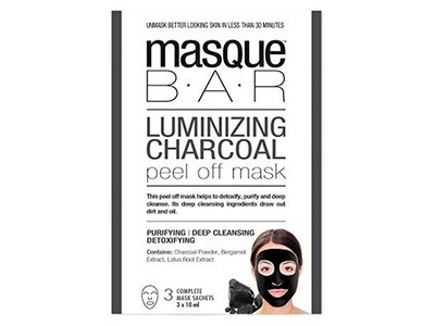 Spa at Home Luminizing Charcoal Peel Off Mask, Black, 3 Count