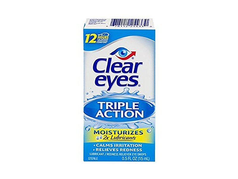 Clear Eyes Triple Action Relief Eye Drops 0.50 oz (Pack of 5)