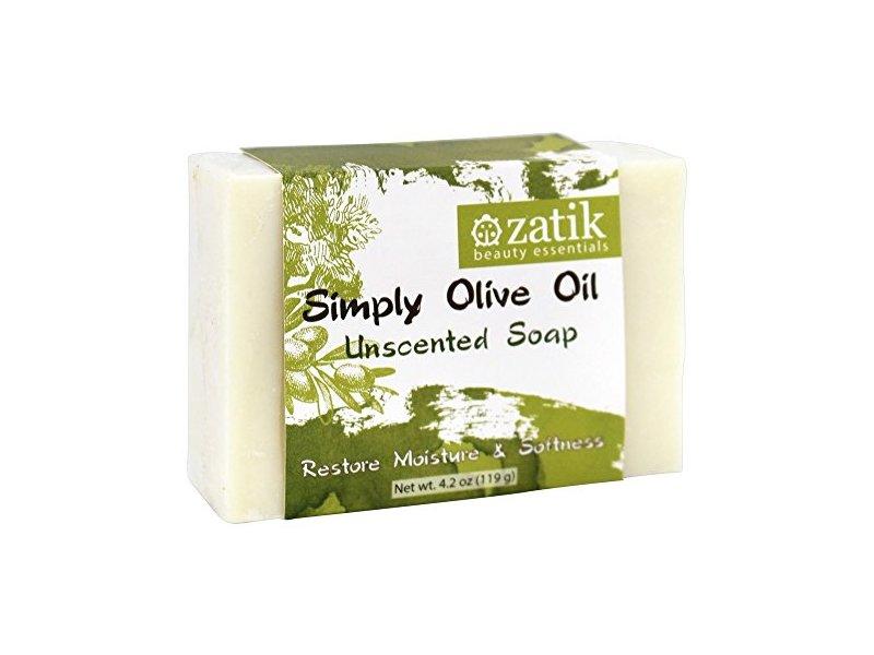 Zatik Beauty Essentials Simply Olive Oil Bar Soap Unscented, 4.2 oz.