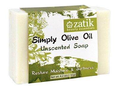 Zatik Beauty Essentials Simply Olive Oil Bar Soap Unscented, 4.2 oz. - Image 1