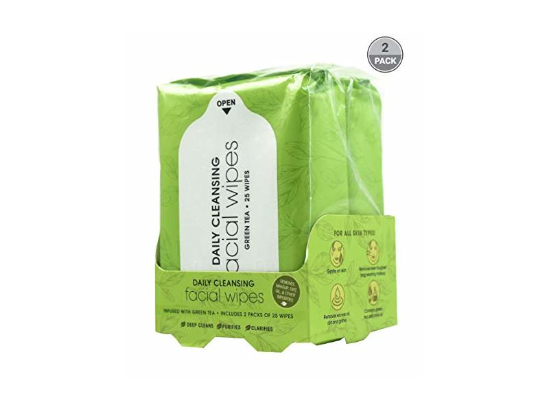 BeautyFrizz Daily Cleansing Facial Wipes, Green Tea, 25 ct (Pack of 2)