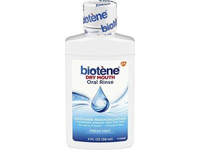 Biotene Fresh Mint Moisturizing Oral Rinse Mouthwash, Alcohol-Free, for Dry Mouth, 2 ounce
