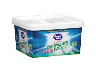Great Value Fresh Scent Dishwasher Powder Pacs with Grease Fighting Action, 85 ct