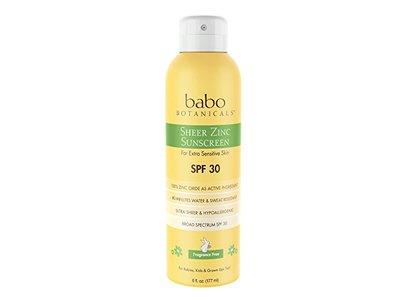 Babo Botanicals Sheer Zinc SPF 30 Natural Continuous Fragrance Free Sunscreen Spray, 6 Fluid Ounce