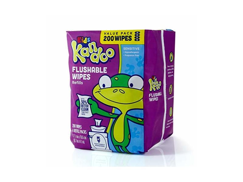 Kandoo Kids Flushable Wipes Refill, Sensitive, 200 ct