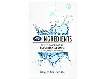 Boots Ingredients Tissue Face Mask, Super Hyaluronic, 0.67 oz