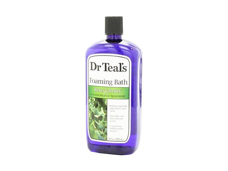 Dr Teal's Pure Epsom Salt Foaming Bath, Eucalyptus & Spearmint, 34 fl oz
