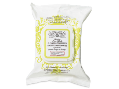 J.R. Watkins Hydrating Face & Body Cleansing Towelettes, Aloe & Green Tea, 30 ct