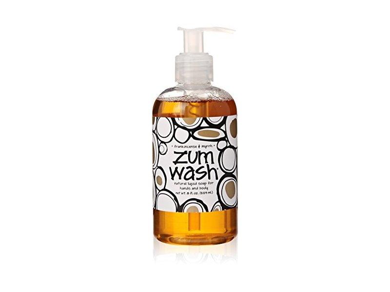 Indigo Wild Zum Wash Natural Hand & Body Liquid Soap, Frankincense & Myrrh, 8 Fluid Ounces