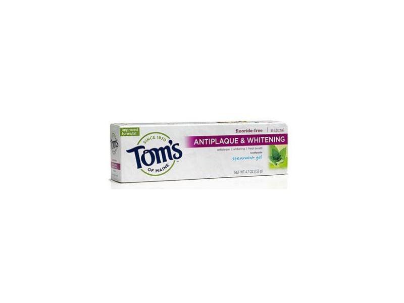 Tom's Of Maine Fluoride-Free Antiplaque & Whitening Toothpaste, Spearmint Gel, 4.7 oz
