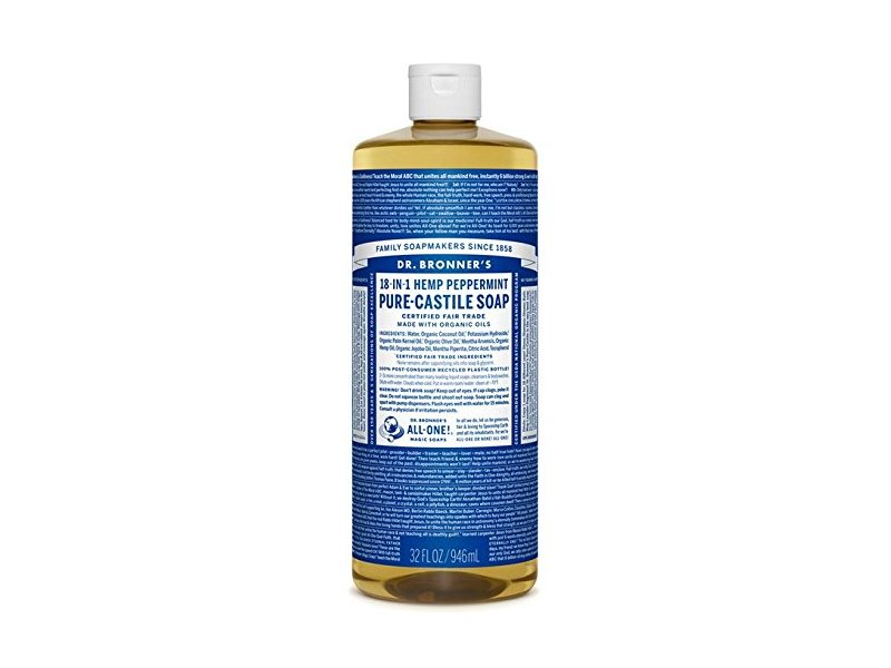 Dr. Bronner's Magic Soap Cleaning Detergent, 18-in-1 Peppermint Pure-Castile Soap, 32 Ounce