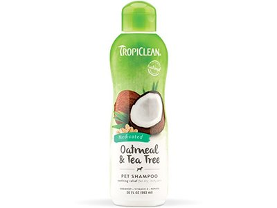 TropiClean Oatmeal and Tea Tree Medicated Dog Shampoo, 20 oz.