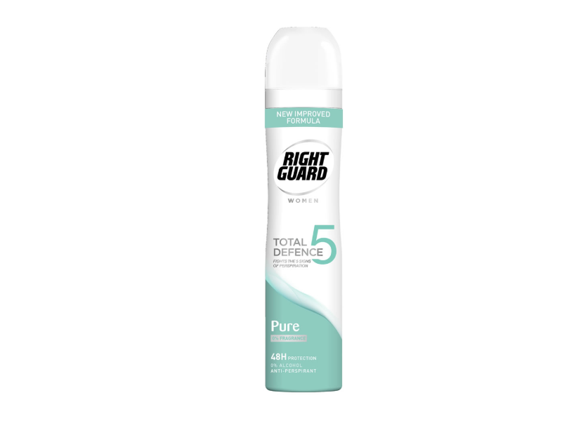 Right Guard Women Total Defence 5 Pure Antiperspirant Spray, 250ml