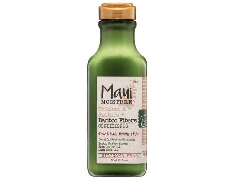 Maui Moisture Thicken & Restore + Bamboo Fibers Conditioner, Weak, Brittle Hair, Silicone Free, 13 fl oz/385 mL