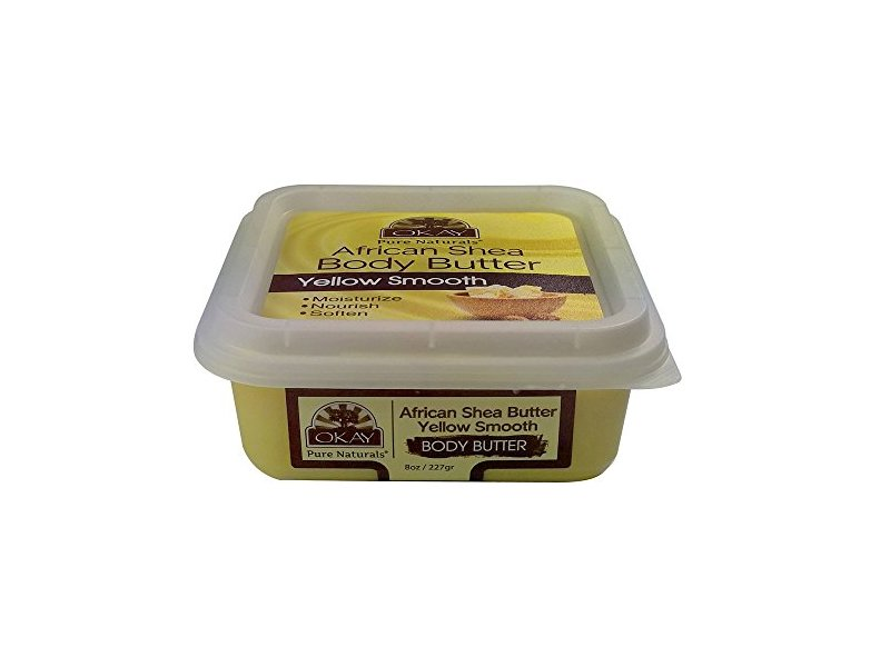Okay Pure Naturals African Shea Body Butter, Yellow Smooth, 8 oz.