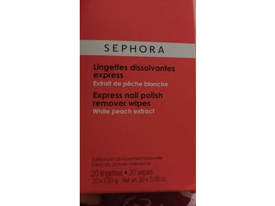 Sephora Collection Express Nail Polish Remover Wipes, White Peach Extract, 20 wipes - Image 3
