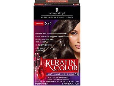 Schwarzkopf Keratin Color Anti-Age Hair Color Cream, 3.0 Espresso