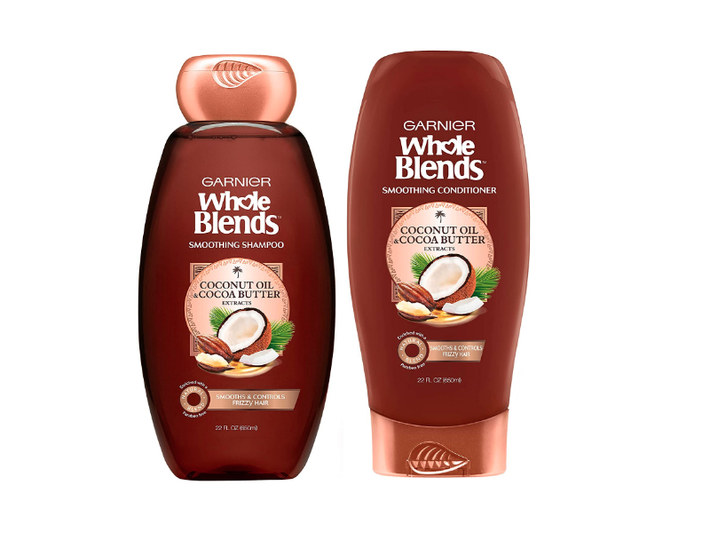 Garnier Whole Blends Smoothing Shampoo And Conditioner Set, Coconut Oil & Cocoa Butter Extracts, 22 fl oz/650 mL
