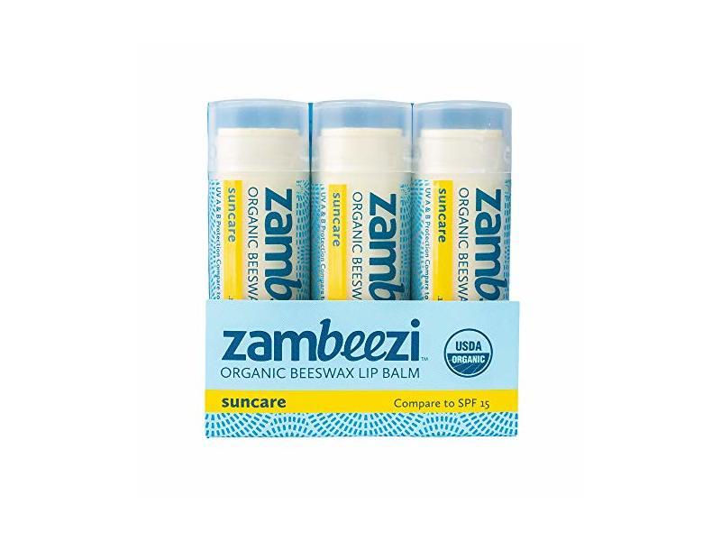 Zambeezi Beeswax Lip Balm, SPF 15, 3-pack